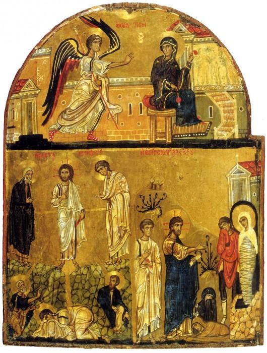 Благовещение, Преображение и Воскрешение прав. Лазаря. Синай. XII в.