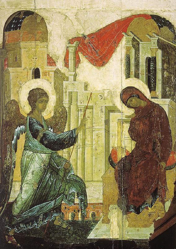 Благовещение. Икона Андрея Рублёва, 1427—1430 года, Андроников монастырь