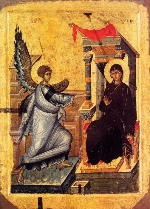 Благовещение. Оборот иконы «Богоматерь Психосострия». XIV век. Охрид