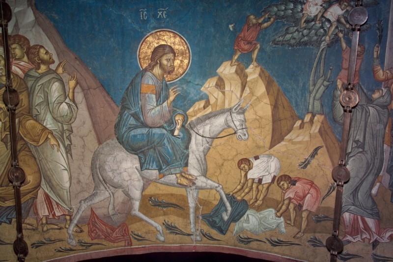 Вход Господень во Иеросалим.  Дечаны, Сербия. Фрагмент фрески