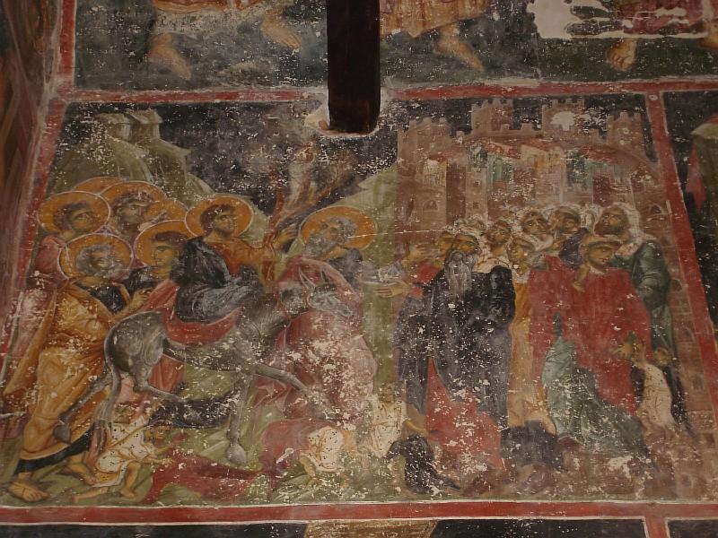 Вход Господень во Иеросалим. Фрески церкви св.Николы в Прилепе 12-13 вв. (Македония)