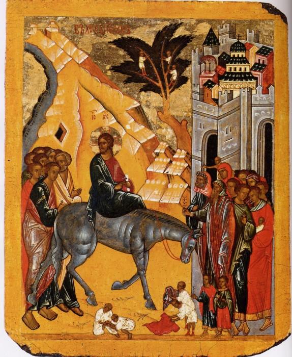 Вход Господень во Иеросалим. (двусторонняя икона). Новгород. XV в