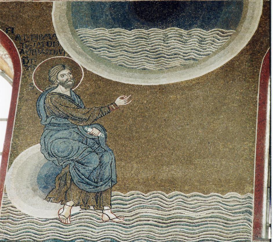 Разделение вод. Мозаика. Кафедральный собор Монреале, мозаика, XII в.