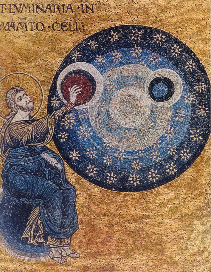 """""""Прикрепление"""" светил к тверди. Кафедральный собор Монреале, мозаика, XII в."""