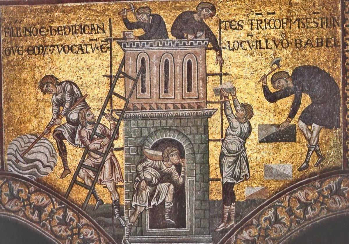 Вавилонская башня мозаика