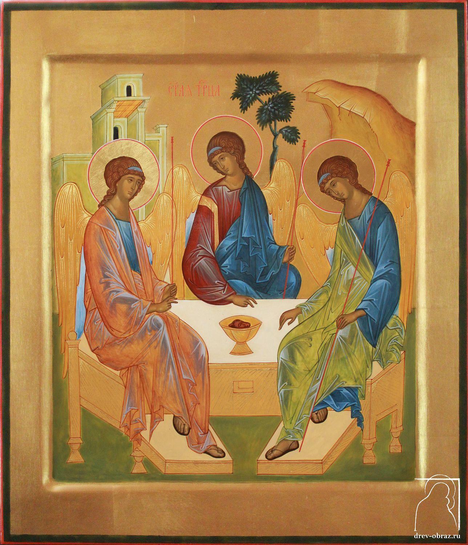 Икона Троицы на золотом фоне